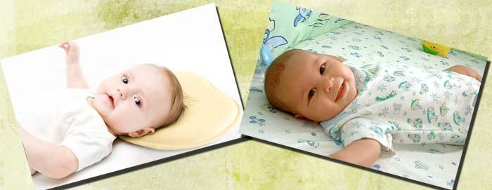 Младенец с подушкой и без