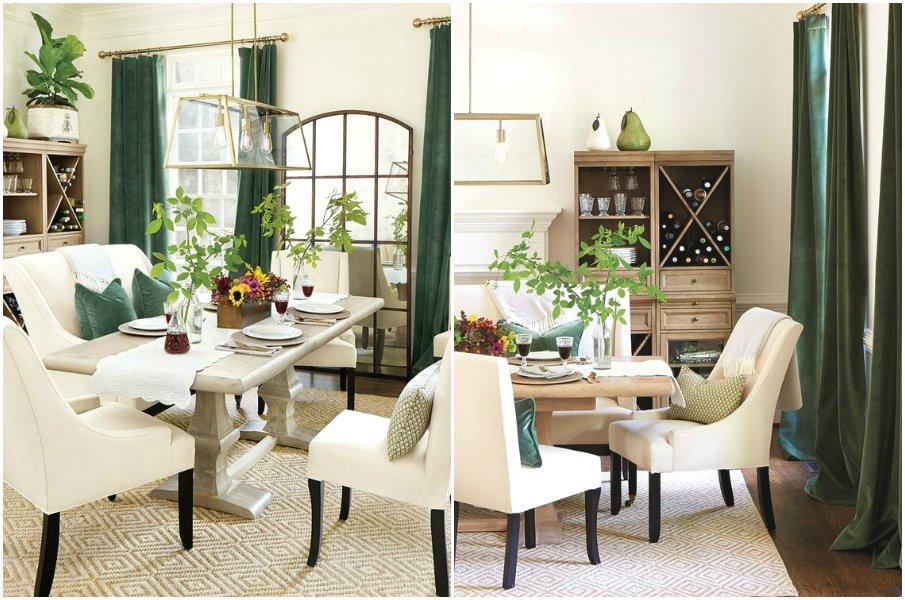 Бархатные шторы и подушки в интерьере столовой