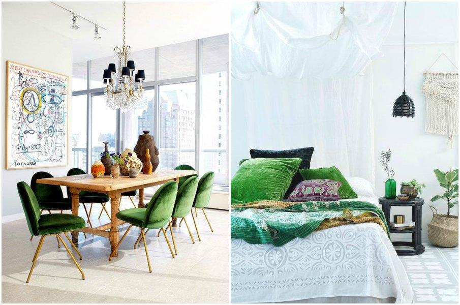 Светлые интерьеры с бархатной мебелью