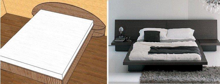 двуспальная кровать своими руками с консольными полками