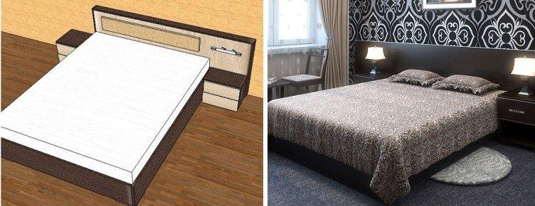 кровать со встроенными прикроватными тумбами
