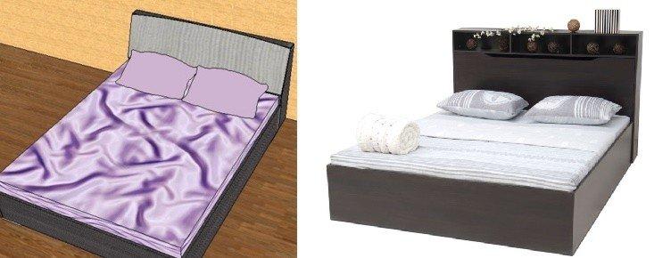 двуспальная кровать с откидной спинкой