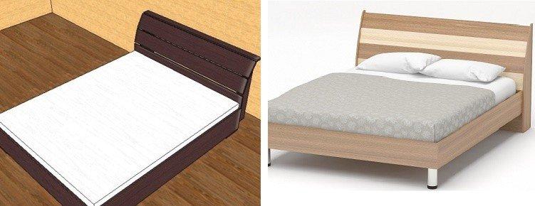 двуспальная кровать с наклонной спинкой