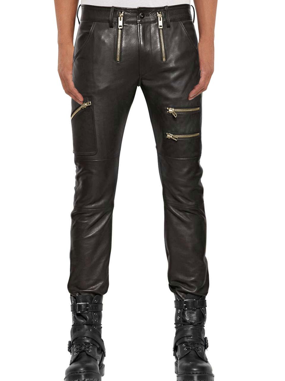Кожаные брюки с молниями