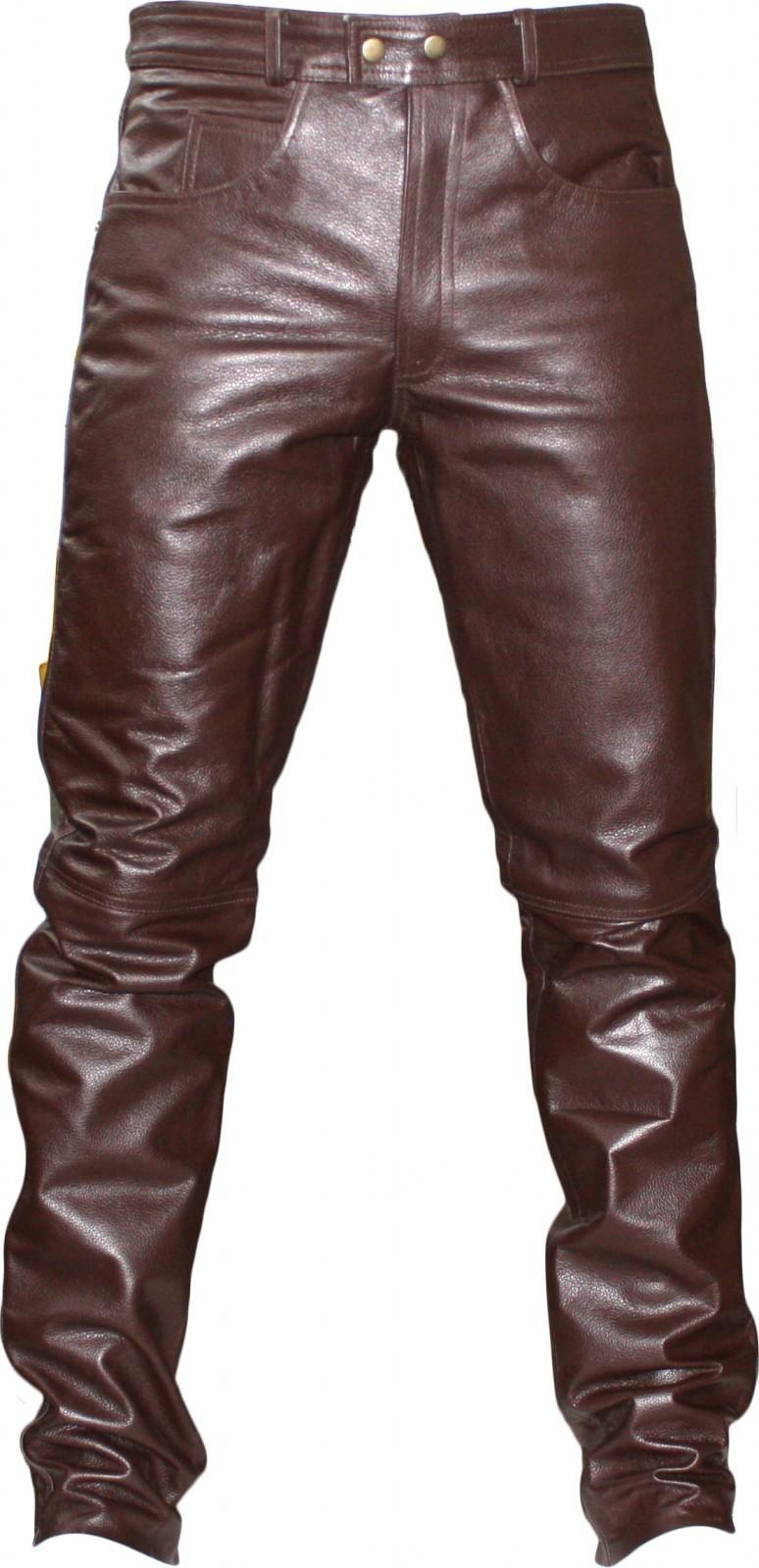Коричневые кожаные штаны