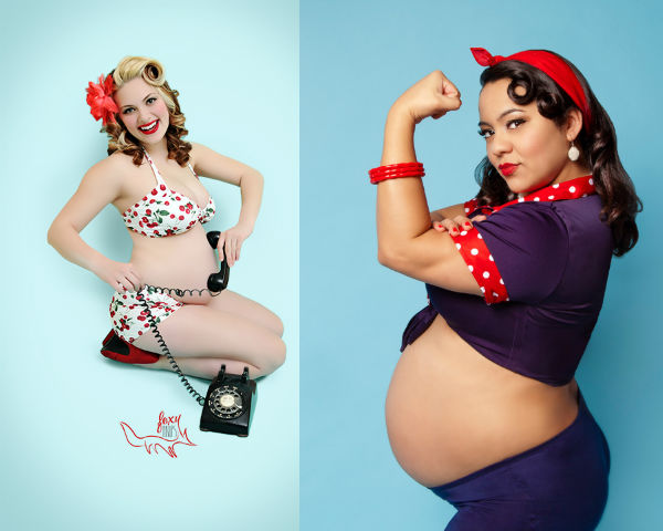 Фотосессия в стиле пин-ап для беременных фото