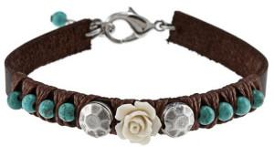 Кожаный браслет с бирюзой - фото overstock.com