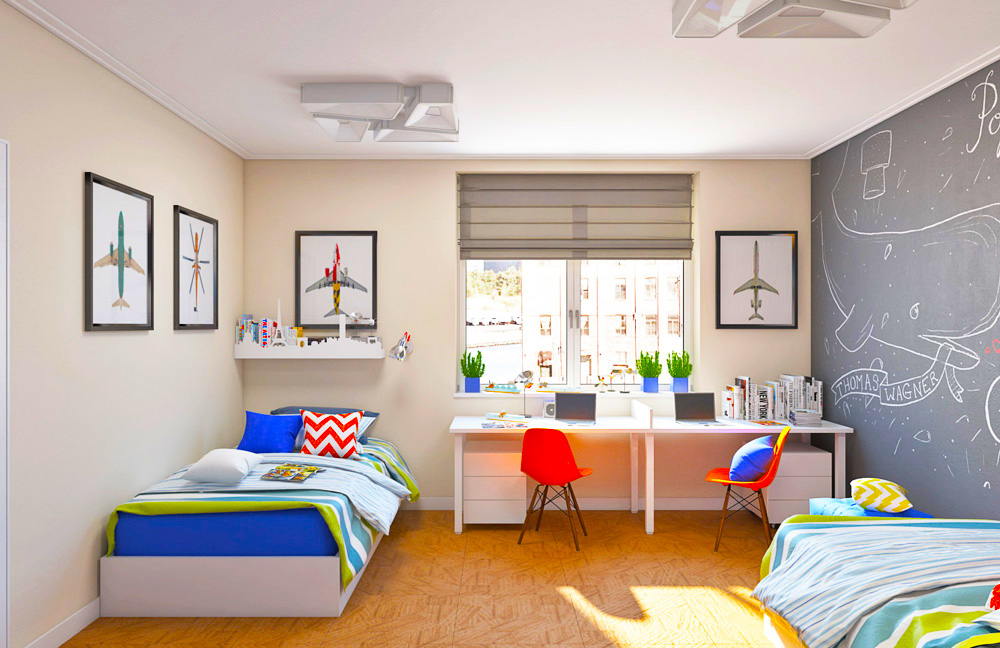 Классические полупрозрачные римские шторы - наиболее оптимальный вариант для мальчика