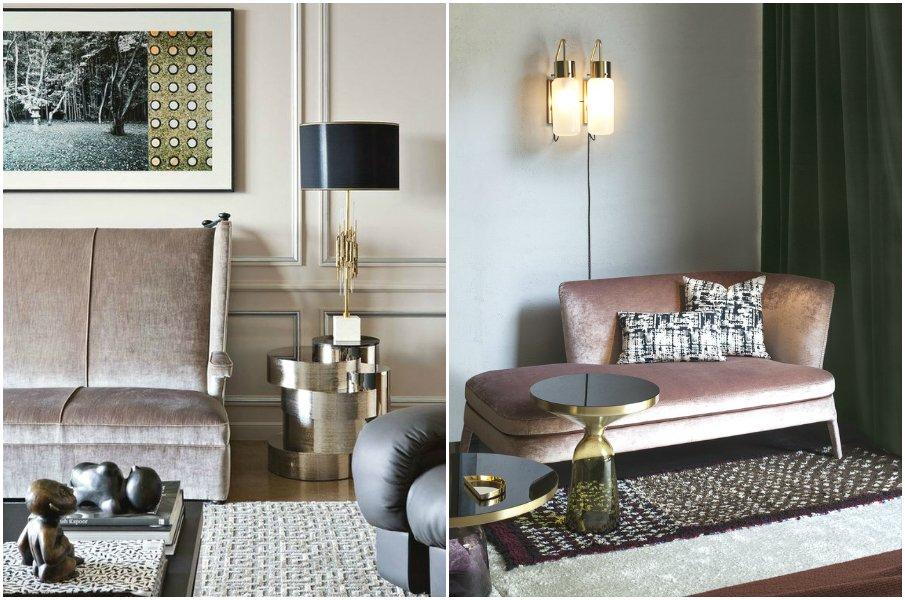 Утонченные интерьеры с бархатной мебелью