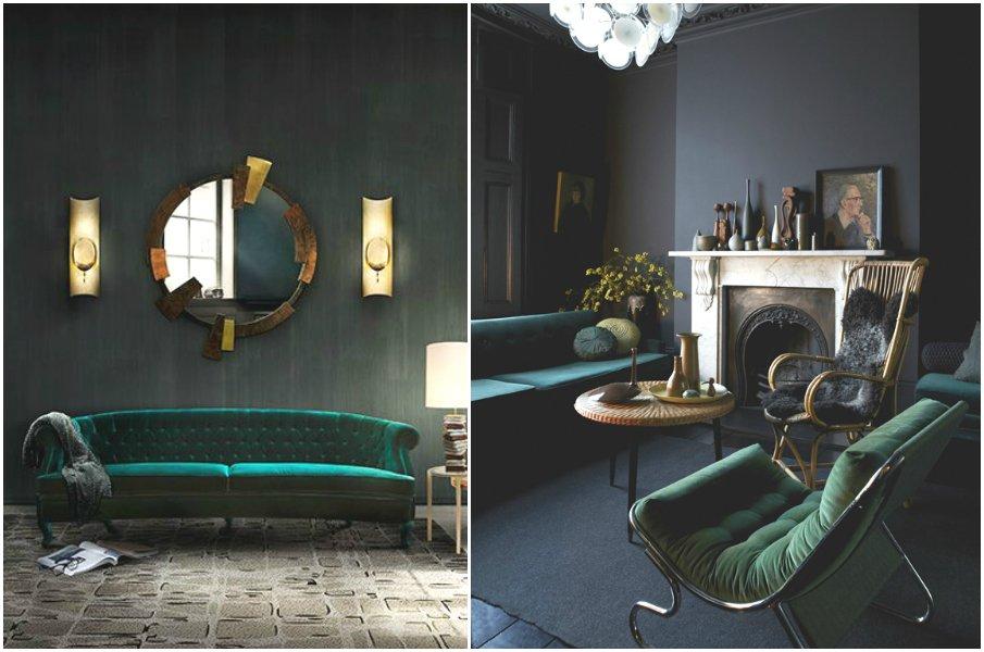 Изумрудные оттенки бархатной мебели