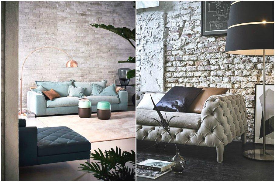 Бархатная мебель на фоне кирпичной стены