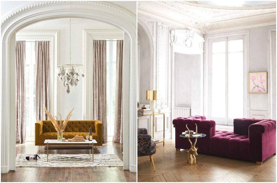 Яркие бархатные диваны не фоне нейтрального интерьера