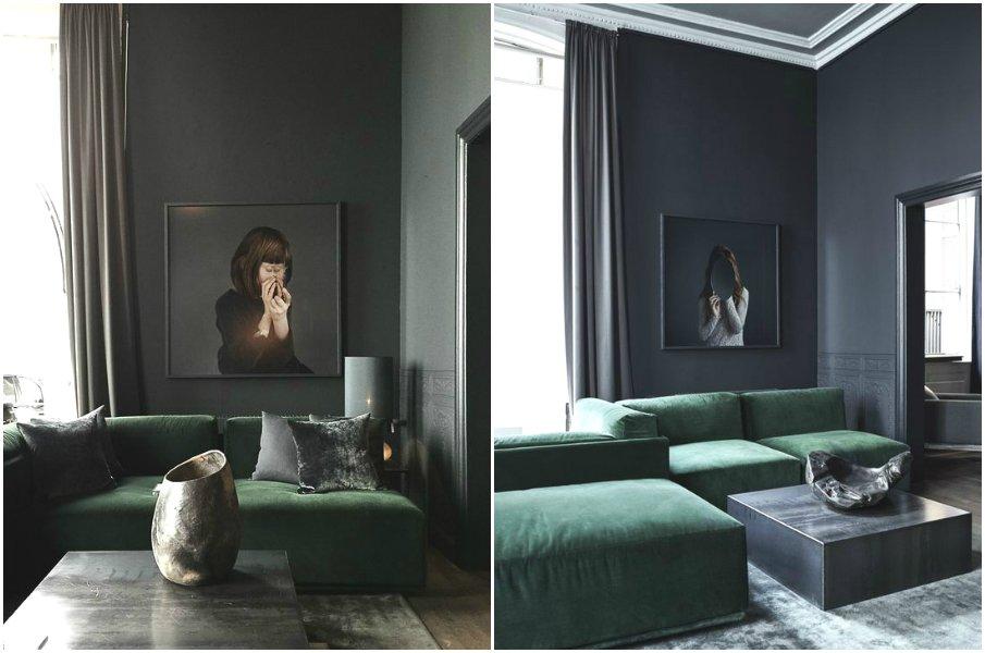 Строгие интерьеры с бархатной мебелью