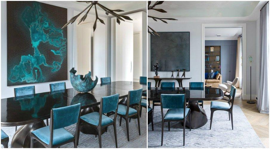 Бархатные стулья в интерьере столовой