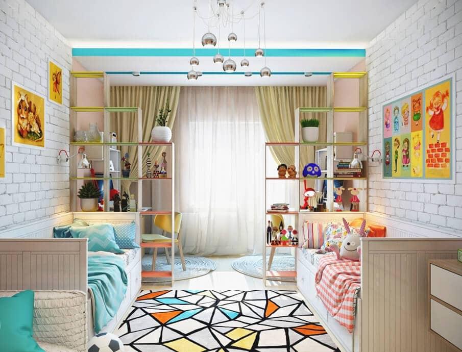 Интерьер детской в светлом и бирюзовом цвете с красивыми шторами
