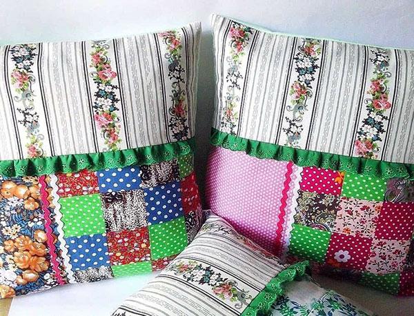 Декоративная подушка из лоскутков