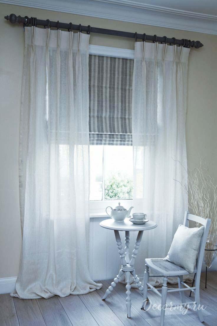 стиль прованс с белыми шторами и прозрачной тьлью