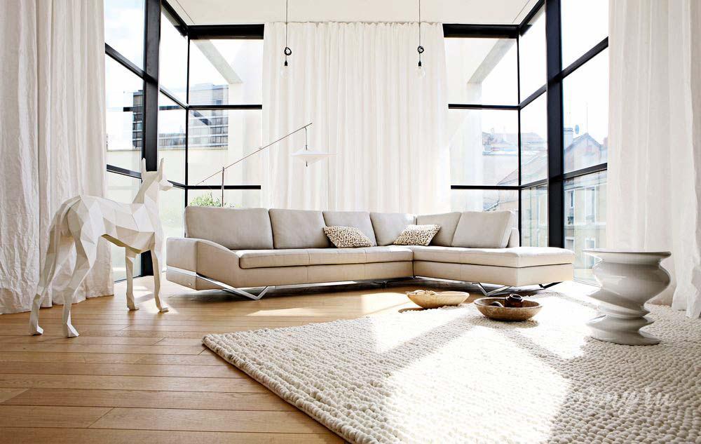 минималистичный стиль и белые шторы