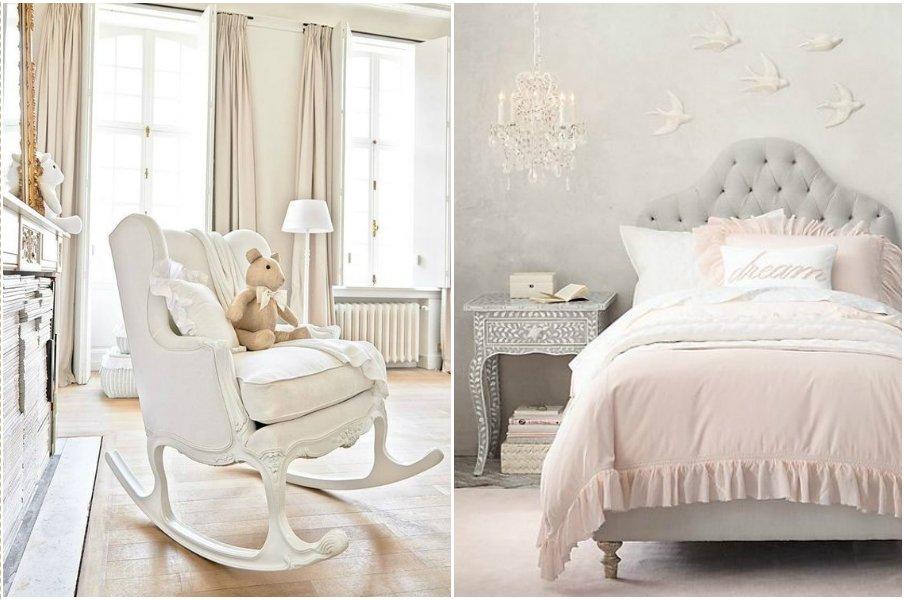 Кровать с мягким изголовьем в стиле прованс