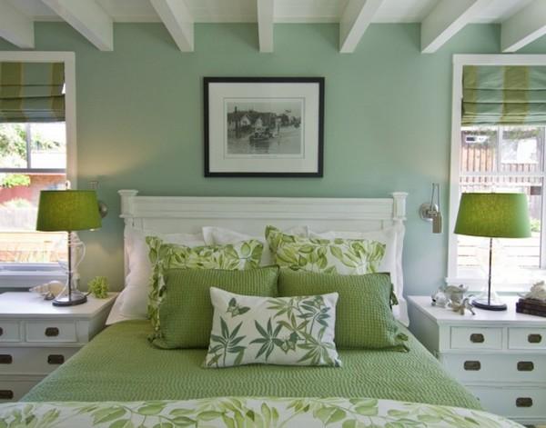 Зеленое покрывало для спальни фото