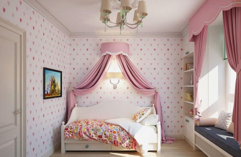 Традиционный розовый цвет для спальни девочки