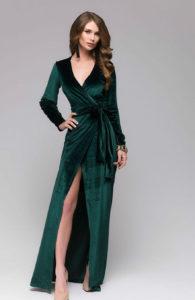 зеленое платье из бархата