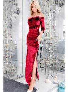 красное платье из бархата