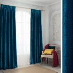 голубые шторы из бархата