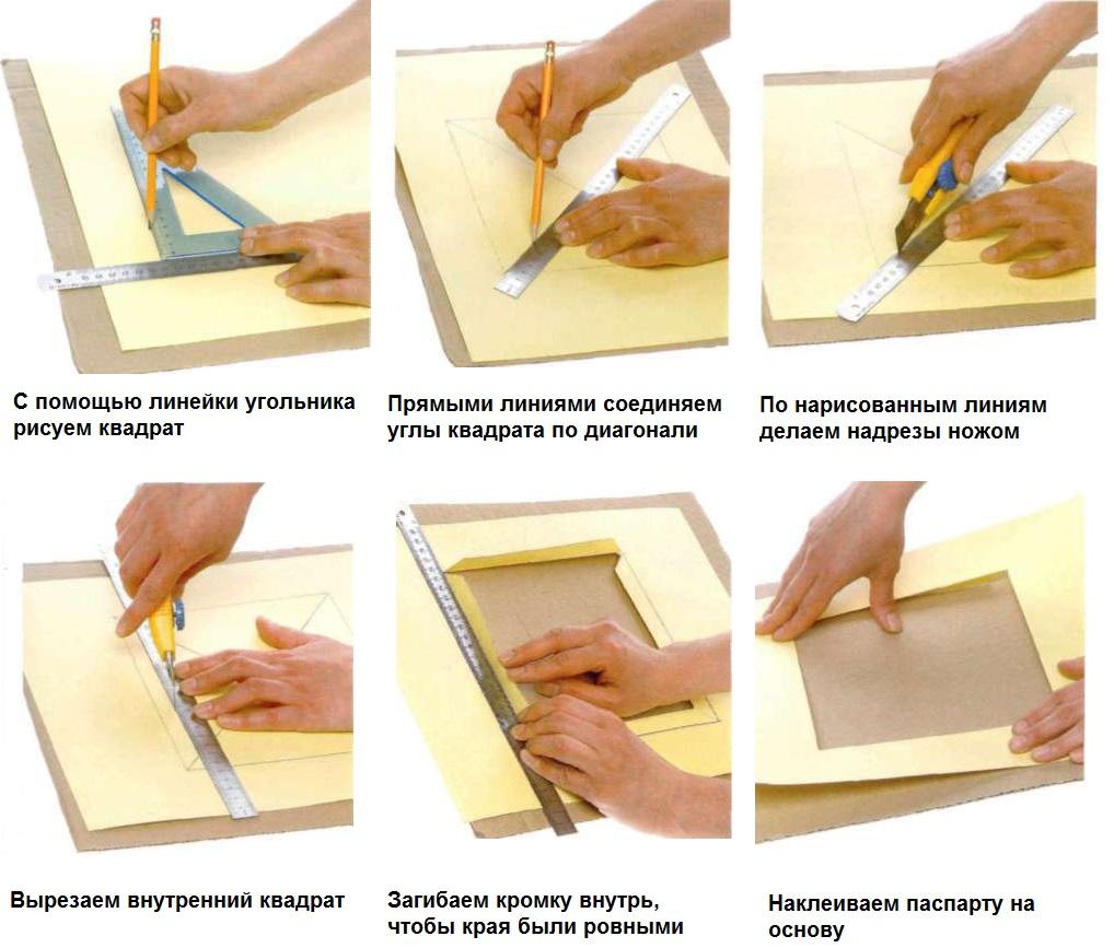 Порядок изготовления паспарту для рамки с фотографией
