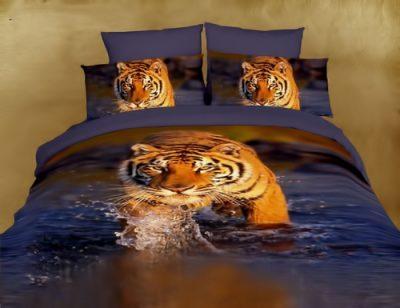 постельное белье с 3d эффектом с тигром