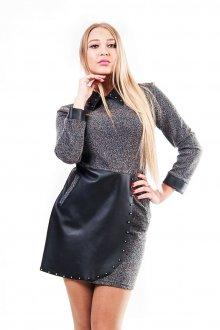 Серо-черное замшевое платье футляр
