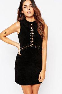 Черное замшевое платье трапеция