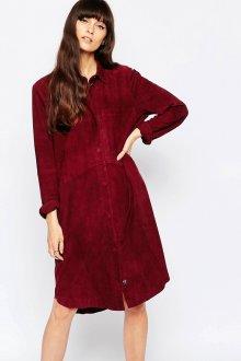 Темно-красное замшевое платье рубашка