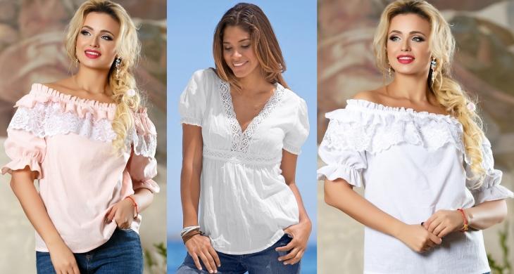 Легкие блузы из батиста нередко комбинируются с кружевом и вышивкой