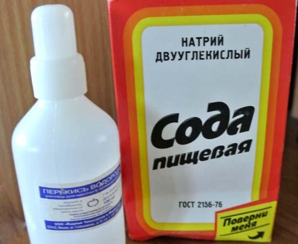 использование перекиси водорода и соды для удаления пятен пота