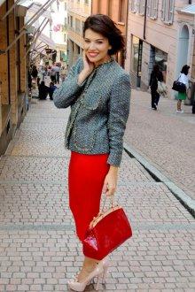 Красное платье с жакетом для женщин за 40