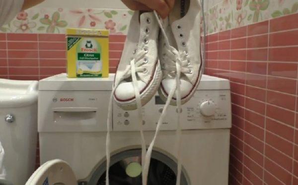 В машине можно стирать только качественную обувь