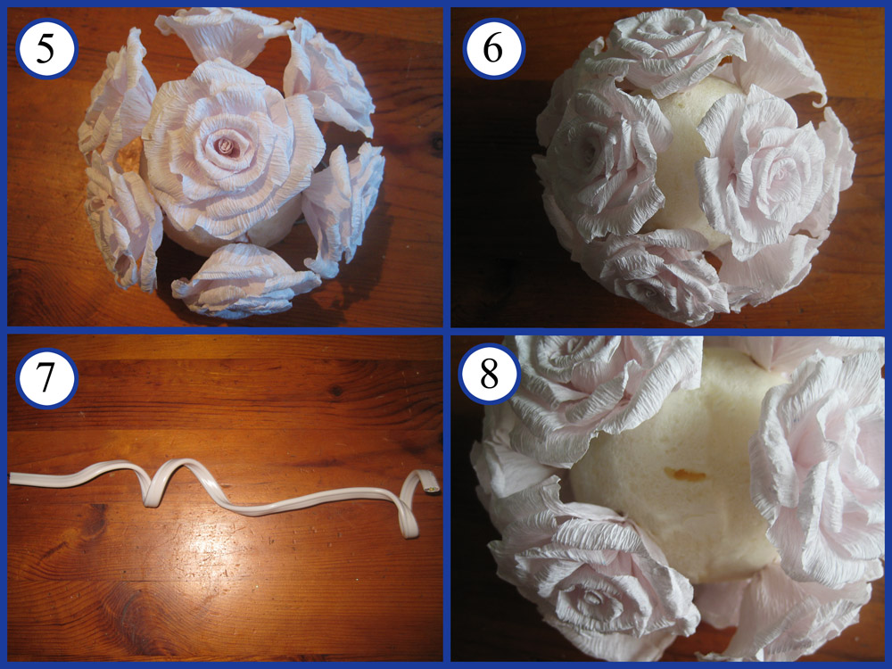 МК топиарий с розами из гофрированной бумаги