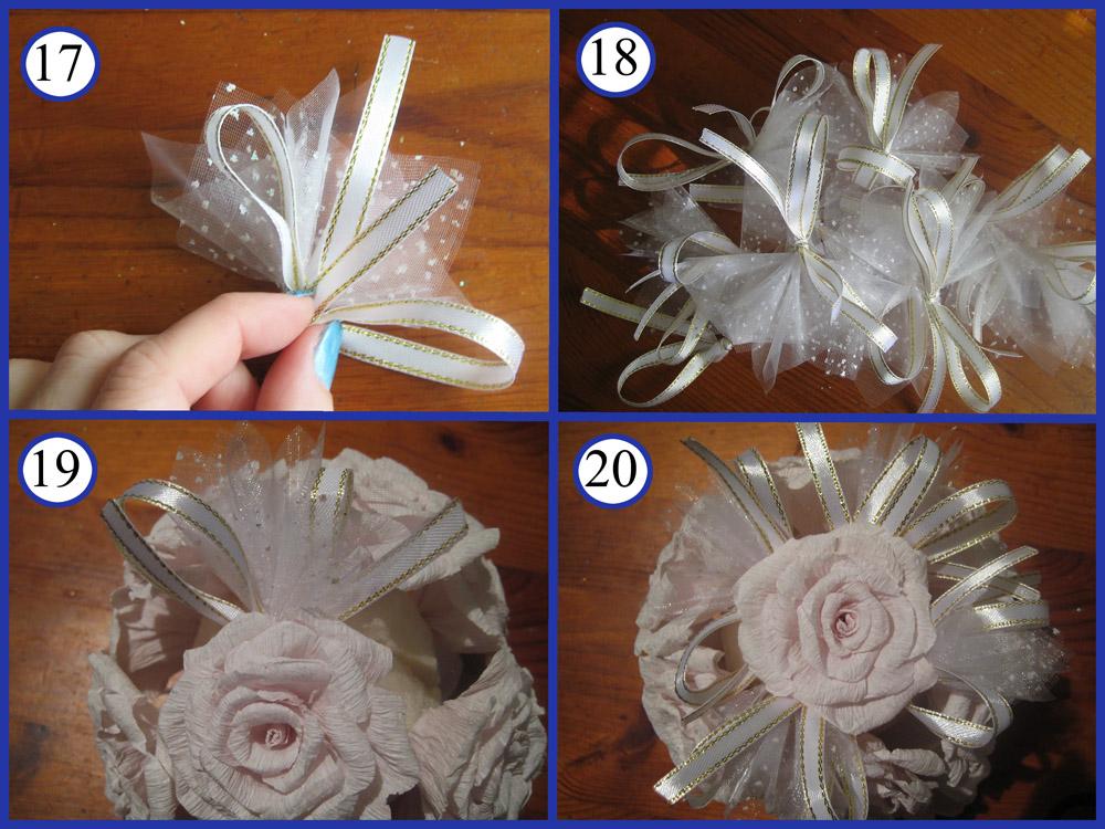 Топиарий с органзой и розами