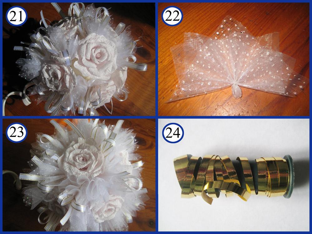 Топиарий с белыми розами и органзой