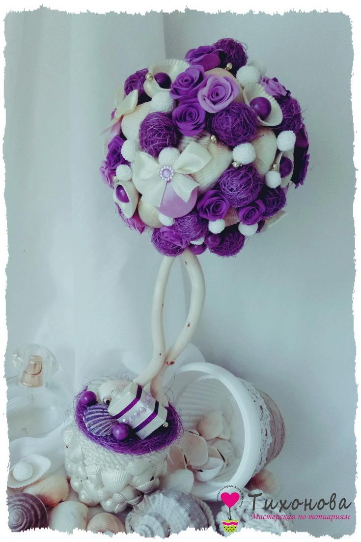 Морской топиарий из ракушек с шариками сизаля и розами Лавандовое море