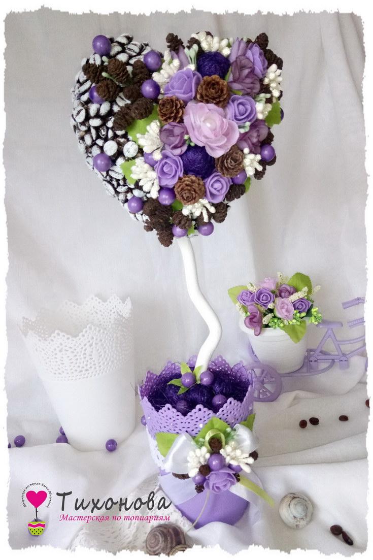 Топиарий дерево счастья в виде сердца с кофе и цветами