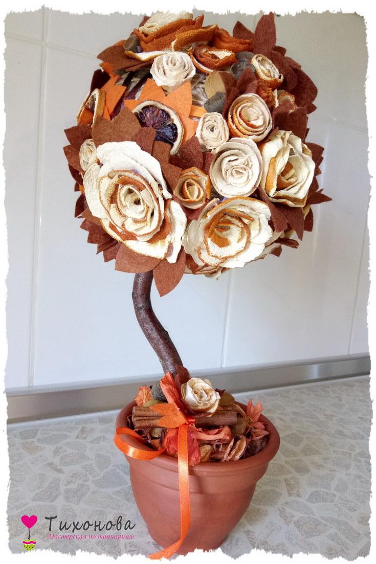 Топиарий с цветами из кожуры апельсина от Алены Тихоновой