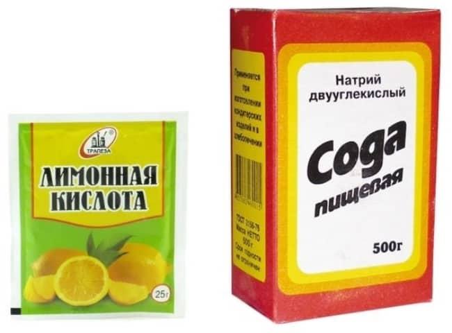 Кашица из соды и лимонной кислоты